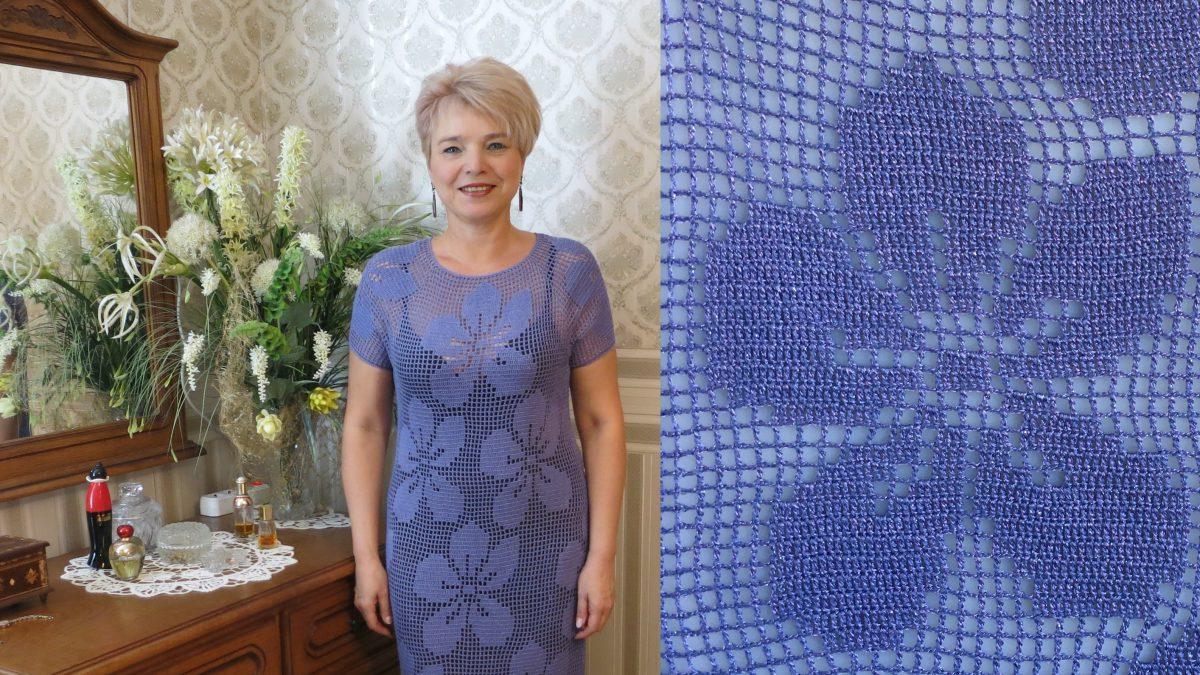 Вязаное платье крючком  –                                 Фиалка филейная