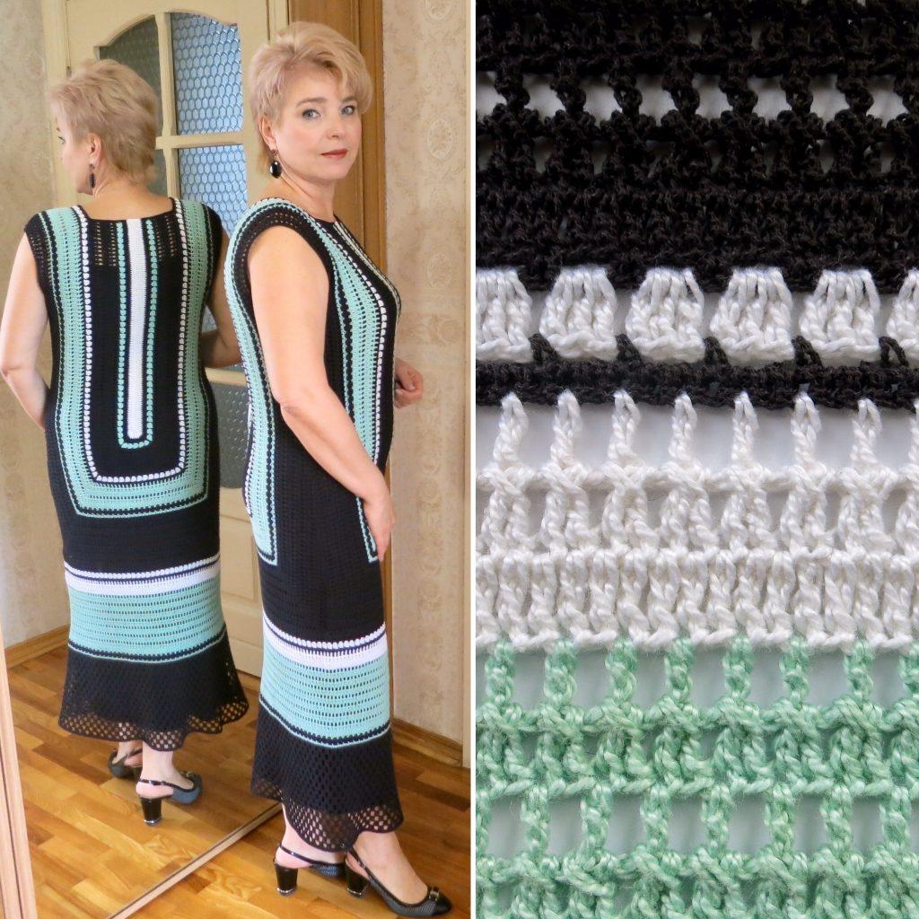 платье крючком - голубая лагуна