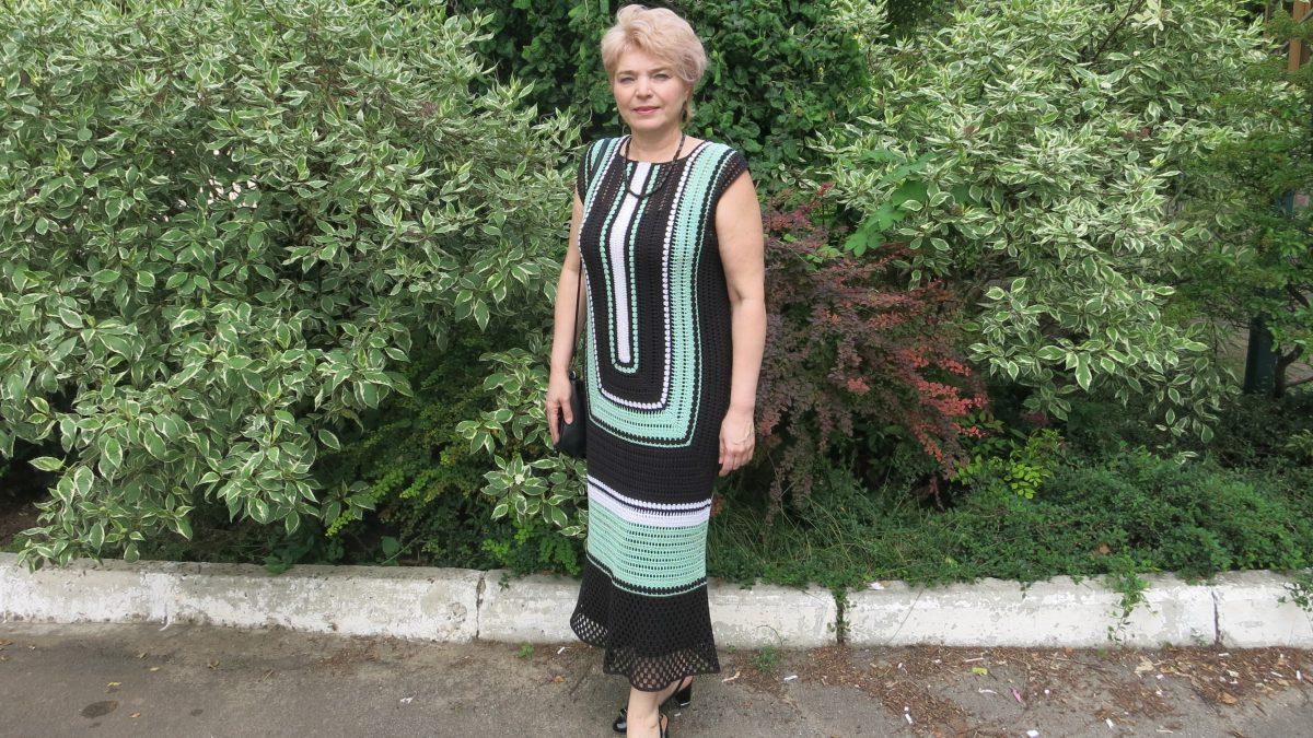 Платье  крючком –     Голубая лагуна