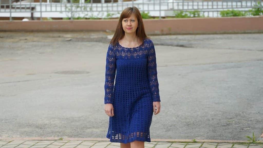 Платье крючком -Индиго-