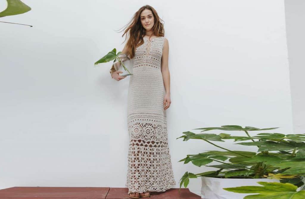 Платье крючком с разными узорами