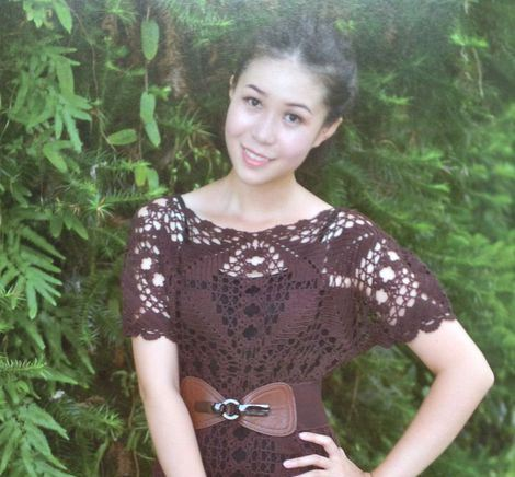 вязаное платье мотивами