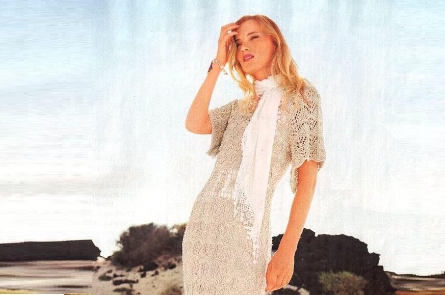 Длинное ажурное платье спицами