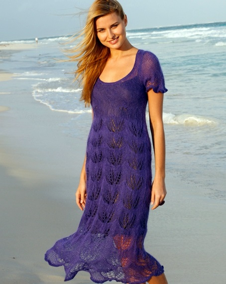 вязаное платье спицами