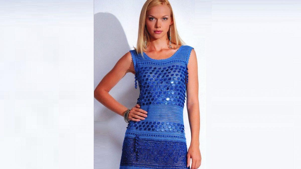 Вязаное платье с паетками