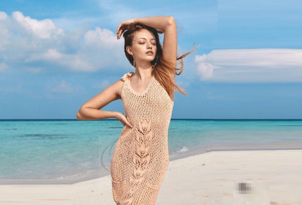 Сетчатое платье с ажурным мотивом