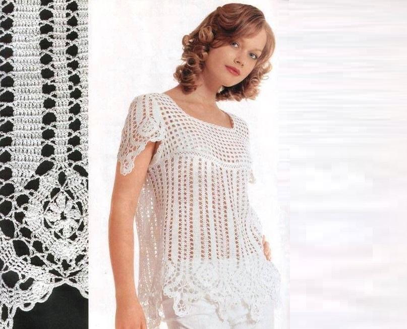 Чудесная блуза – туника в технике брюггского кружева
