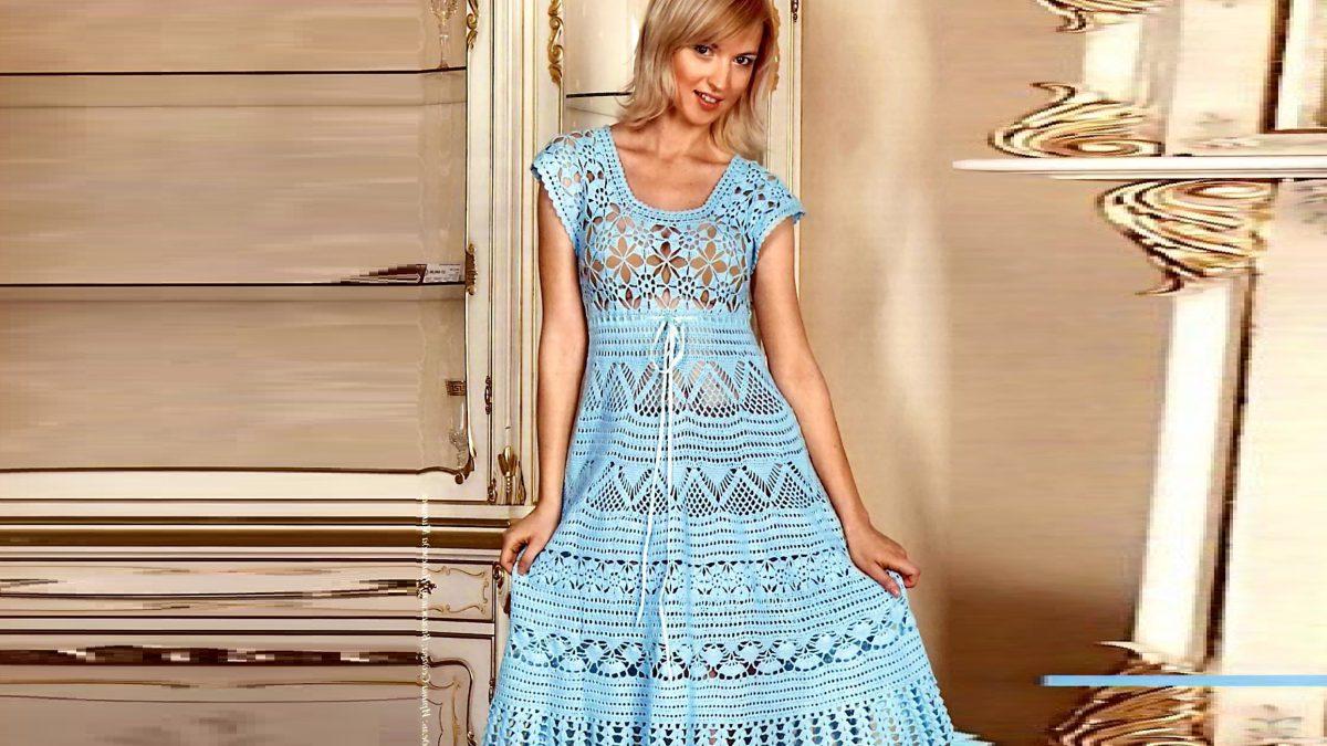Бирюзовое ажурное платье