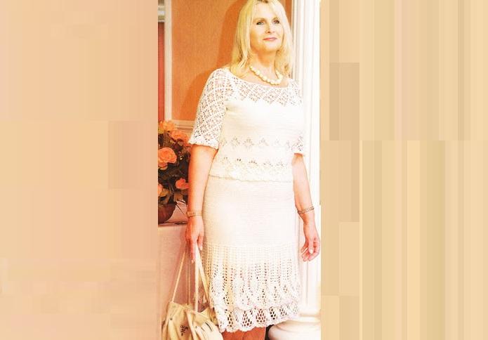 Элегантный белый костюм для женщин крючком