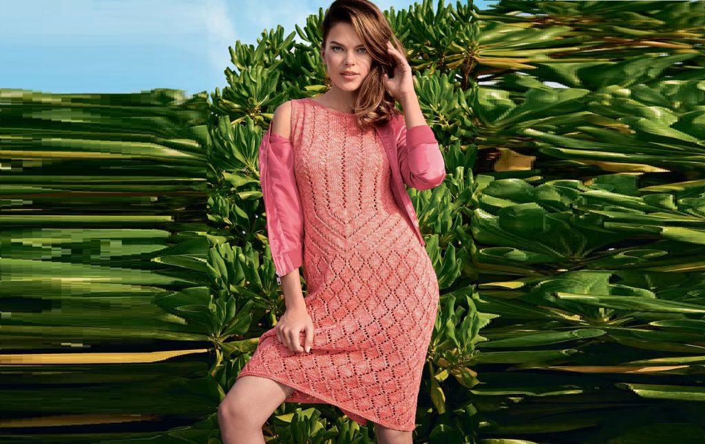 Ажурное платье кораллового цвета