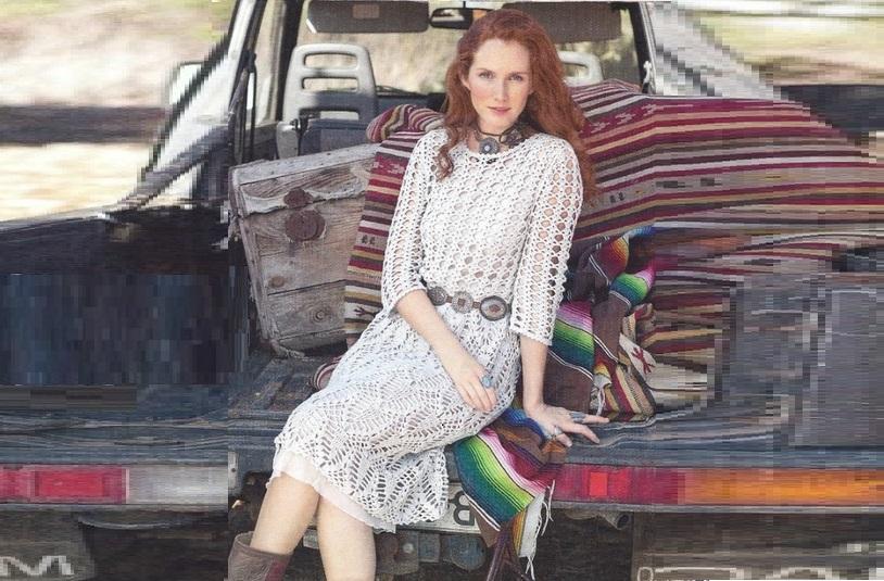 Красивое ажурное платье узором «Листья»