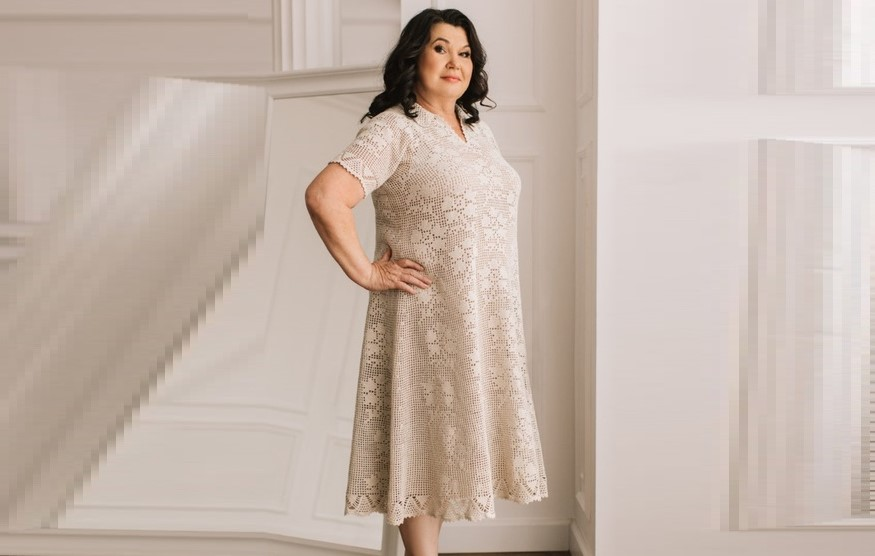 Филейное платье  «Лен»