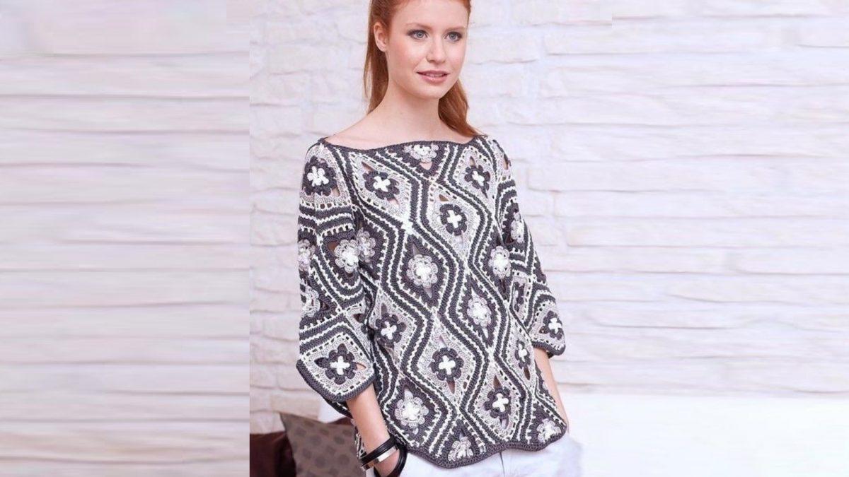 Пуловер из ромбов с цветочным узором