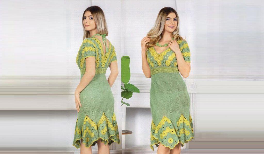 Двухцветное платье с клиньями из мотивов