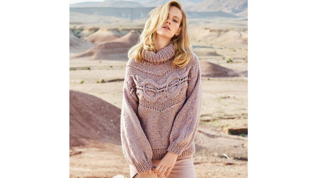 Розовый свитер с поперечной косой