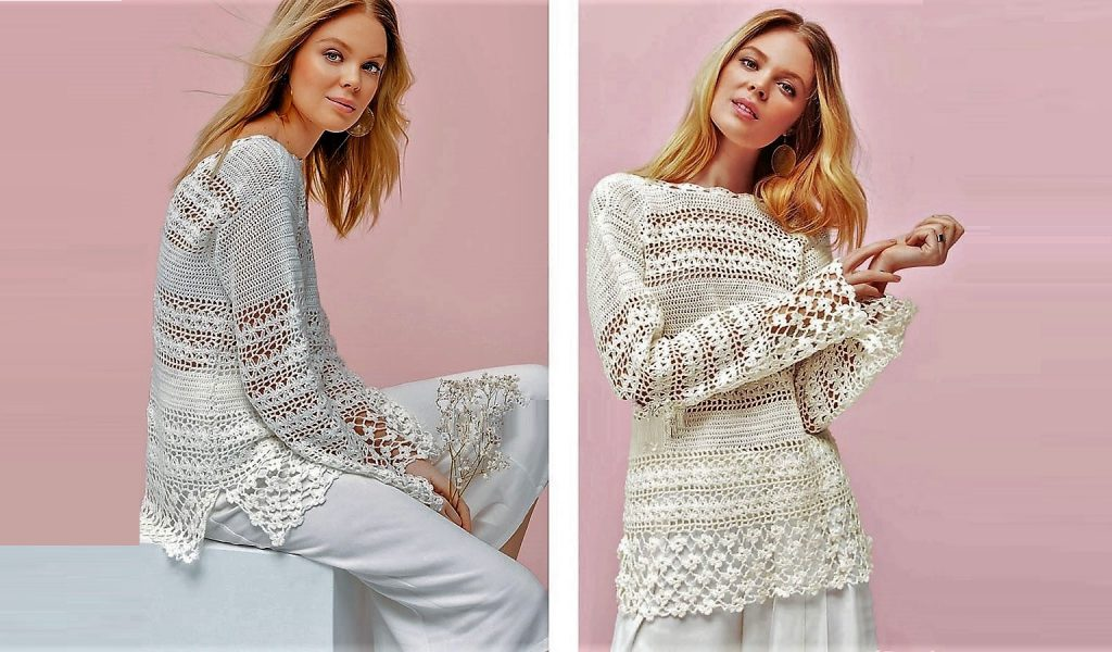 Узорный пуловер белого цвета