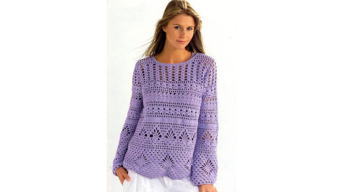 Лиловый женский вязаный крючком пуловер
