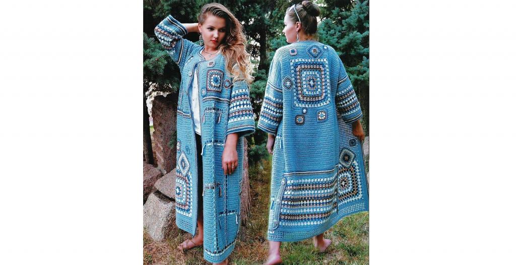 Вязаное пальто «бабушкиным квадратом»