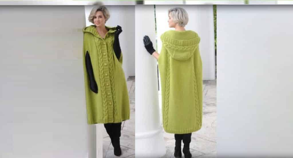 Длинное пальто-пончо с капюшоном