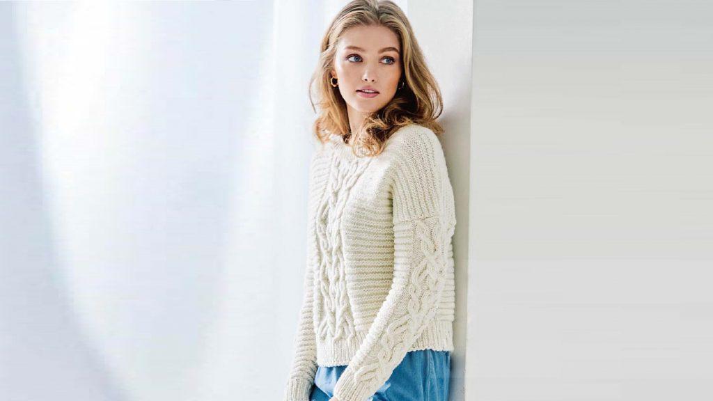 Пуловер с поперечной резинкой и «Косой»