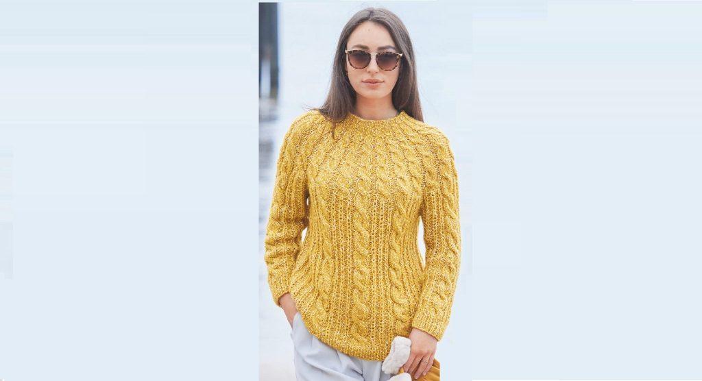 Желтый пуловер с круглой кокеткой