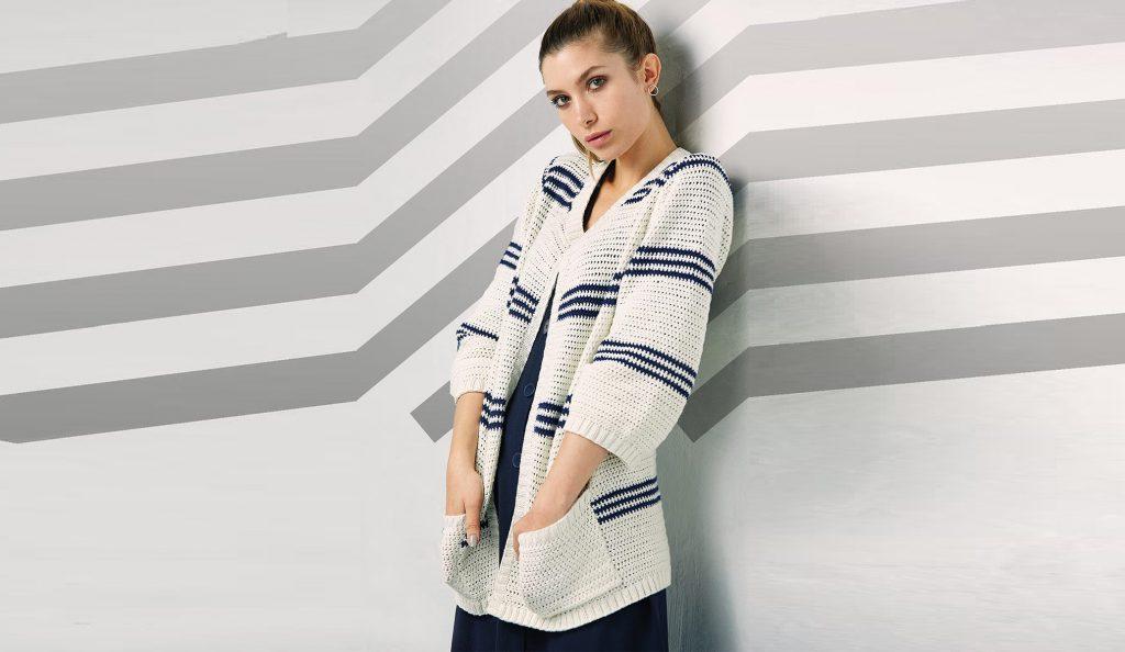 Кардиган с карманами в морском стиле