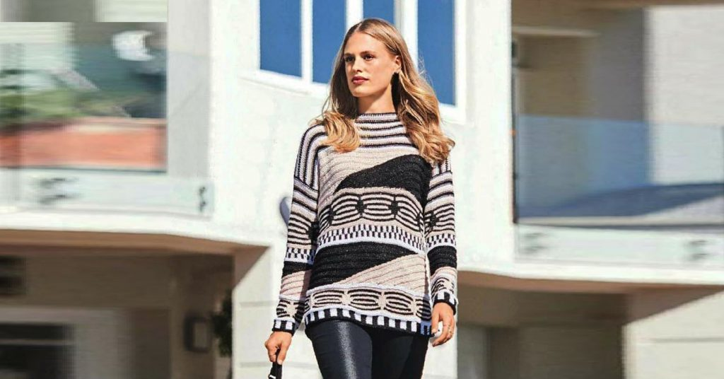 Пуловер с графическими узорами