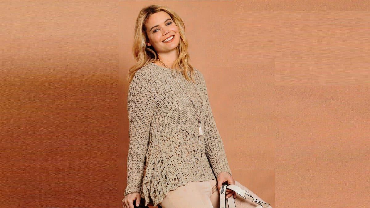 Вязаный пуловер с ажурной баской