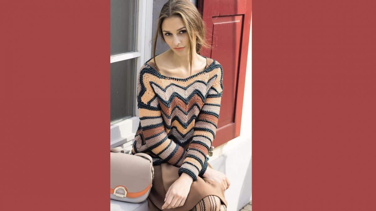 Пуловер узором зигзаг