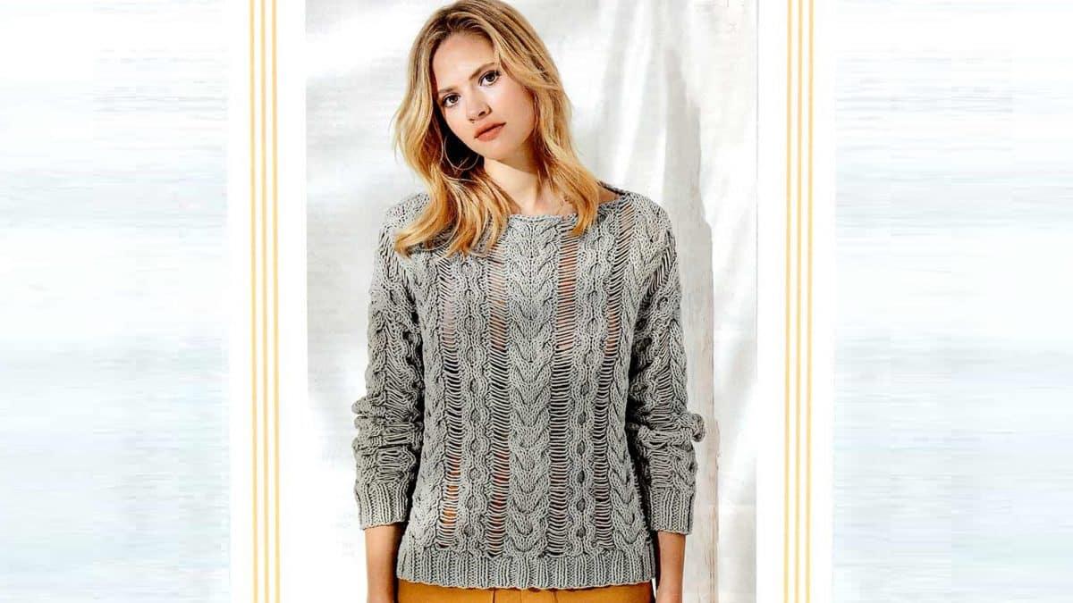 Пуловер с «косами» и спущенными петлями