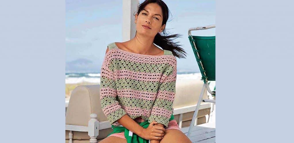 Полосатый пуловер на бретелях