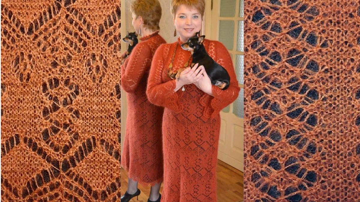 Мохеровое платье шетландским вязанием
