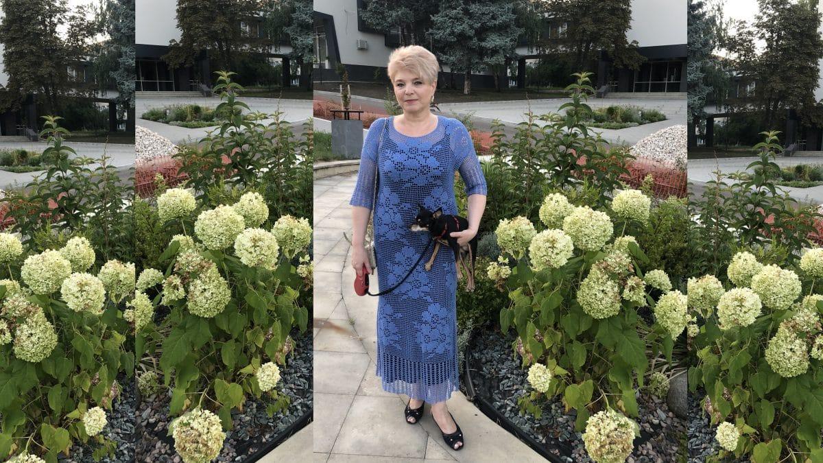 Филейное платье «Незабудки»