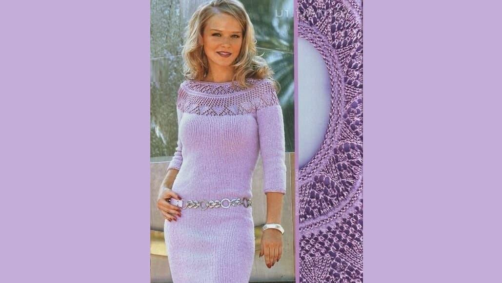 Сиреневое платье с круглой кокеткой