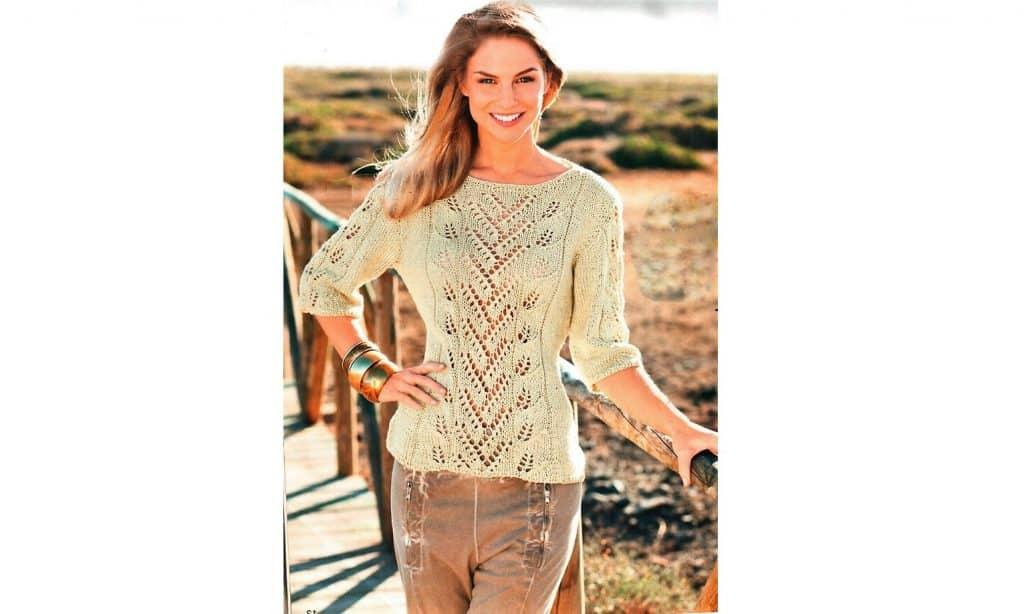 Пуловер с ажурной полосой