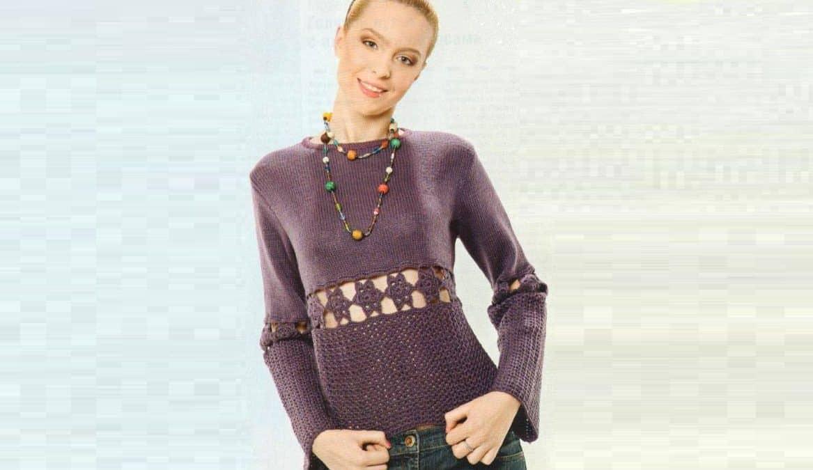 Пуловер с вставками из кружевных цветов