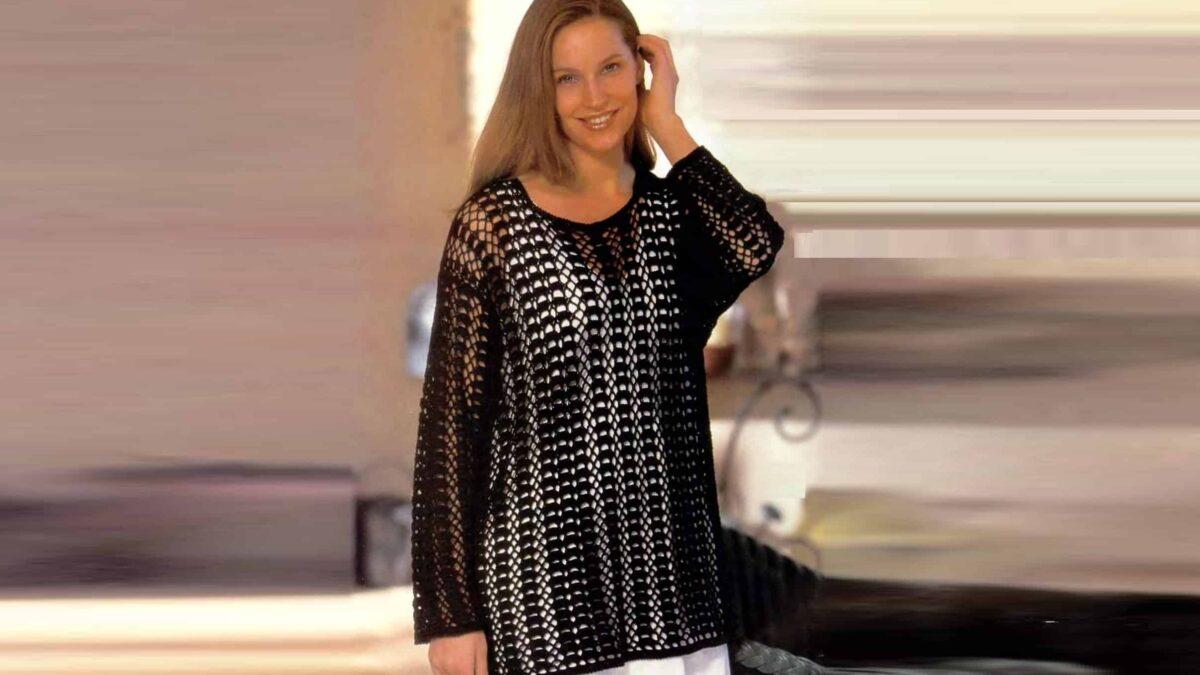 Черный пуловер с ажурным узором